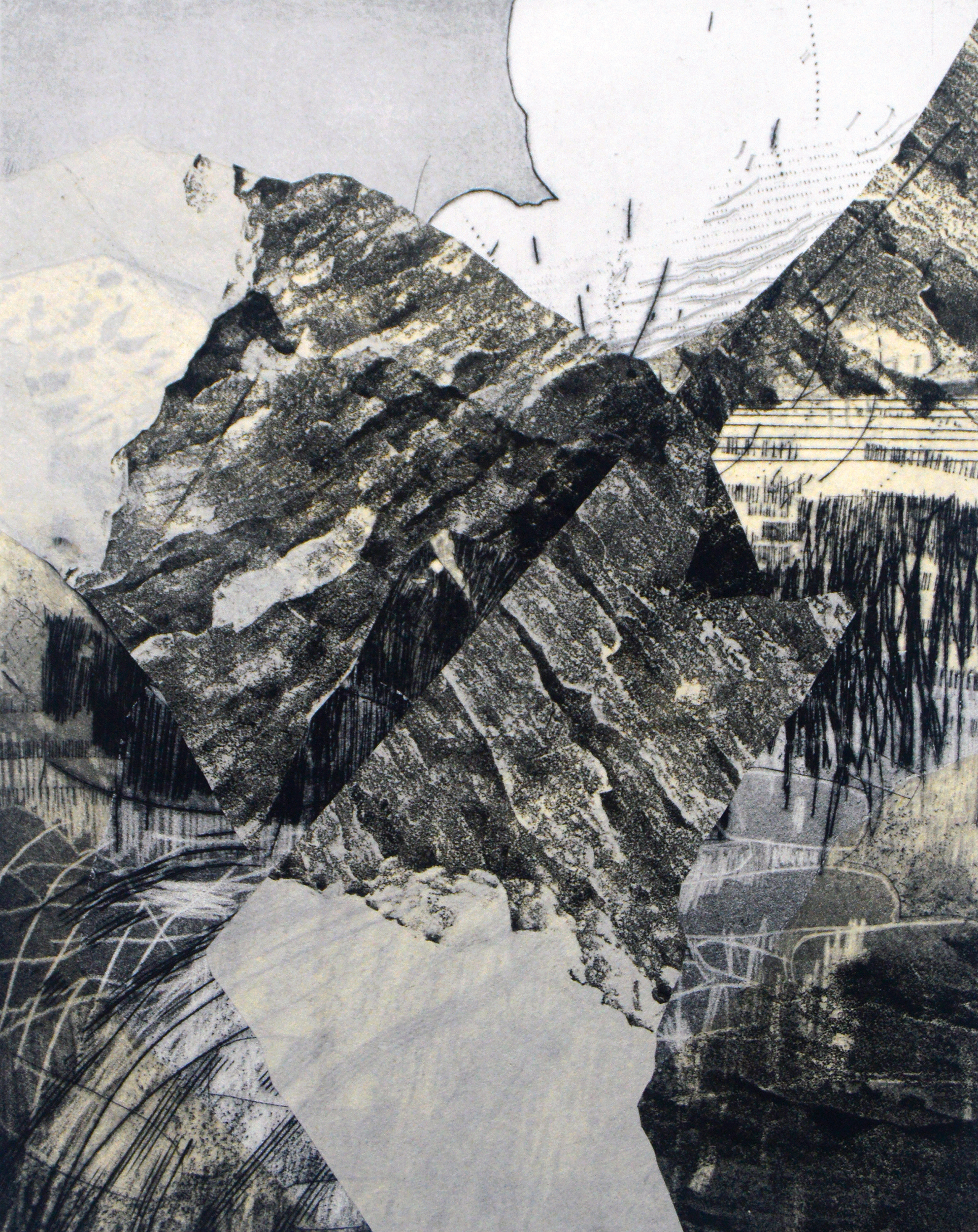 From the series:  The Mountain Moves and I Stand Still , intaglio, chine collé, and stone relief