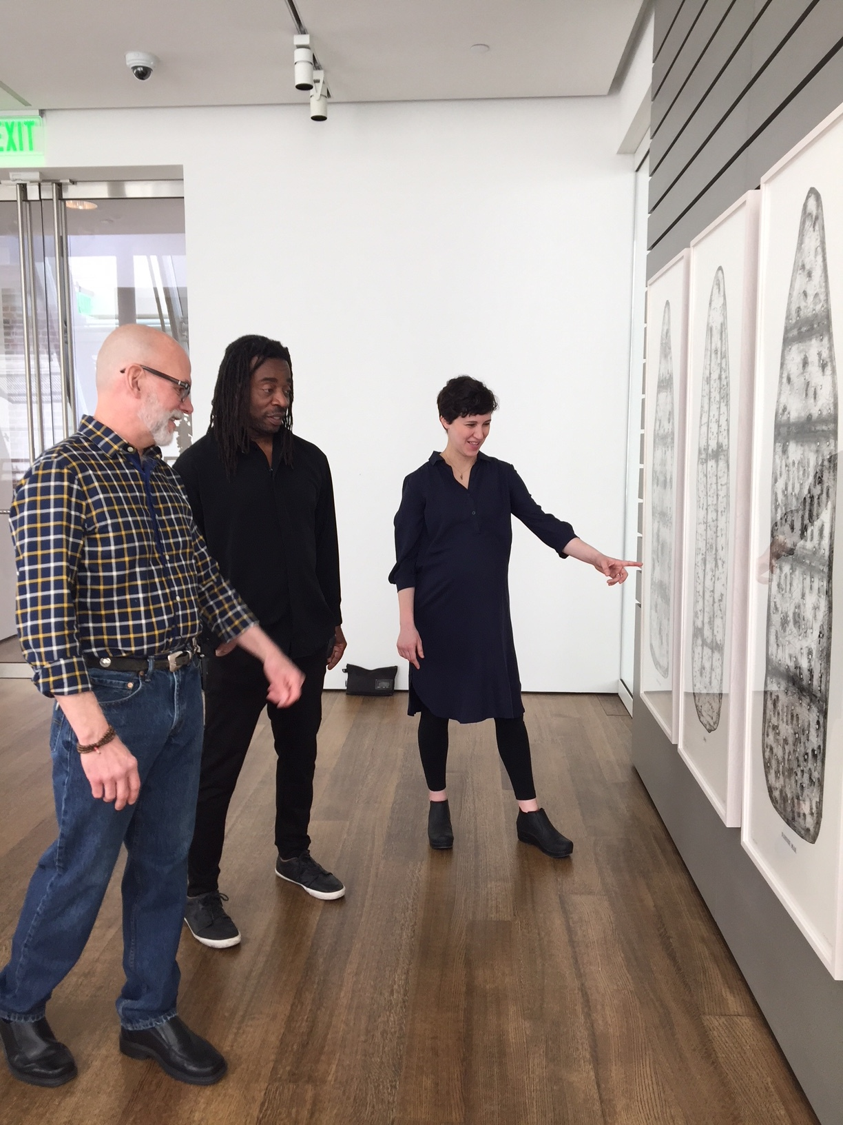 Cole Rogers, artist Willie Cole and Christina Taylor, Assistant Paper Conservator, Straus Center for Conservation and Technical Studies at the Harvard Art Museums discuss The Five Beauties suite.