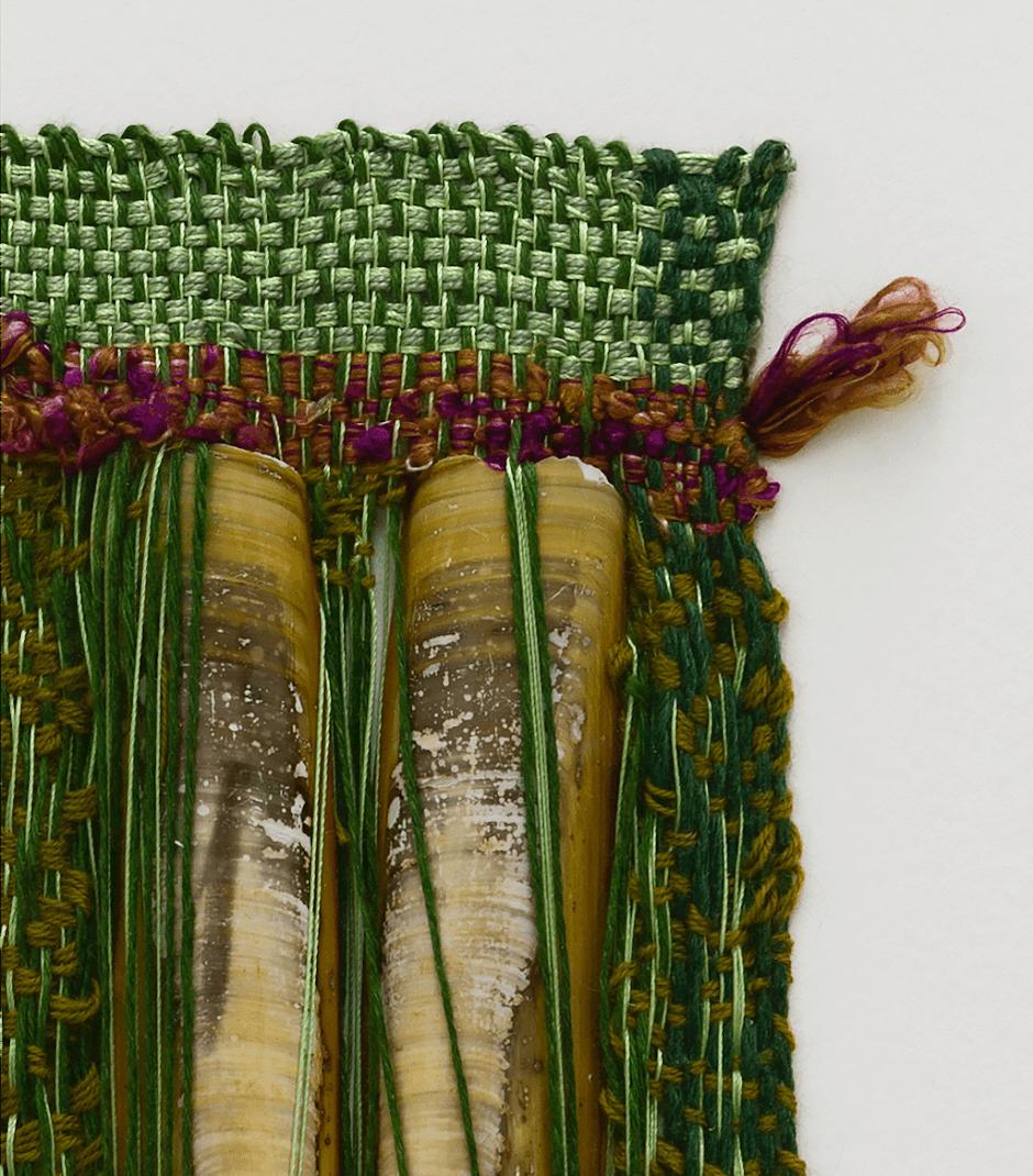 Sheila Hicks ,  Phare Double , 2016 (detail), Cotton, silk, razor clam shells, 24,1 x 15,9 cm / 9 1/2 x 6 1/4 inches