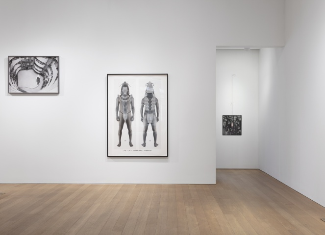 Installation view from Exposures at Alexander and Bonin gallery, featuring work by Willie Cole.