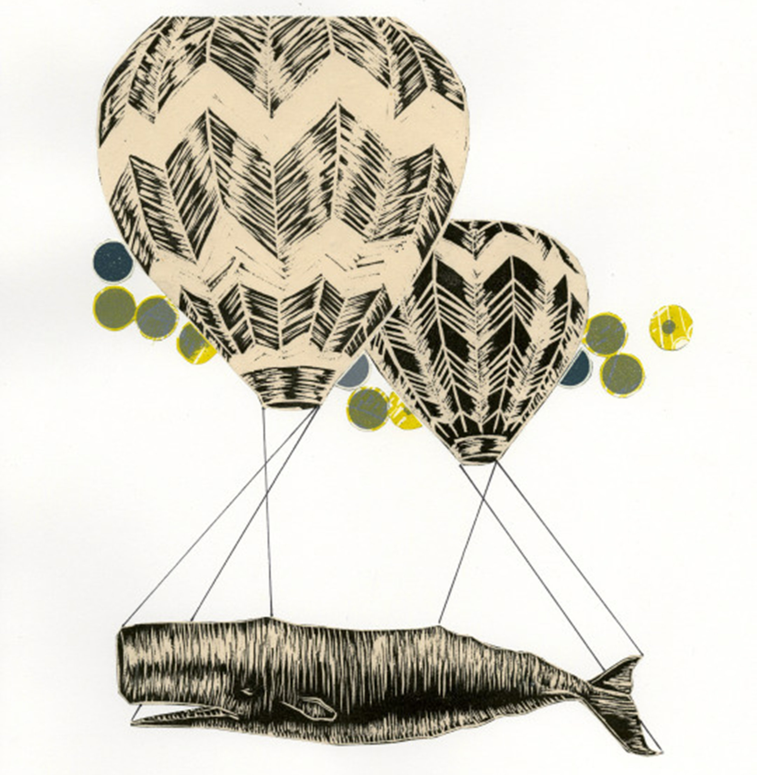 Nancy Ariza, Whale Transport, collage with relief, 2013