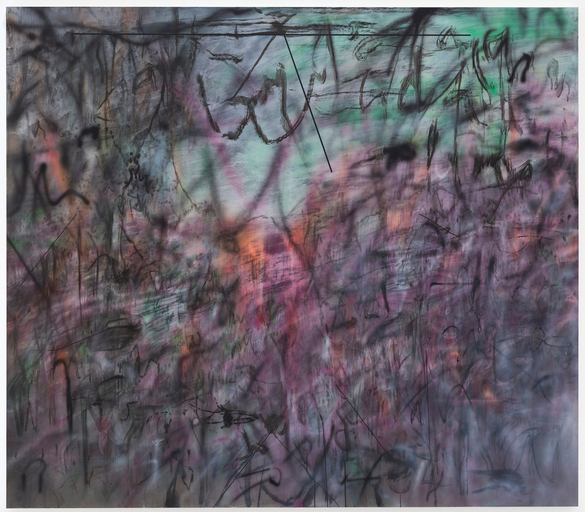 """""""Conjured Parts (eye), Ferguson,"""" a 2016 painting by Julie Mehretu. Credit Courtesy of the artist and Marian Goodman Gallery"""