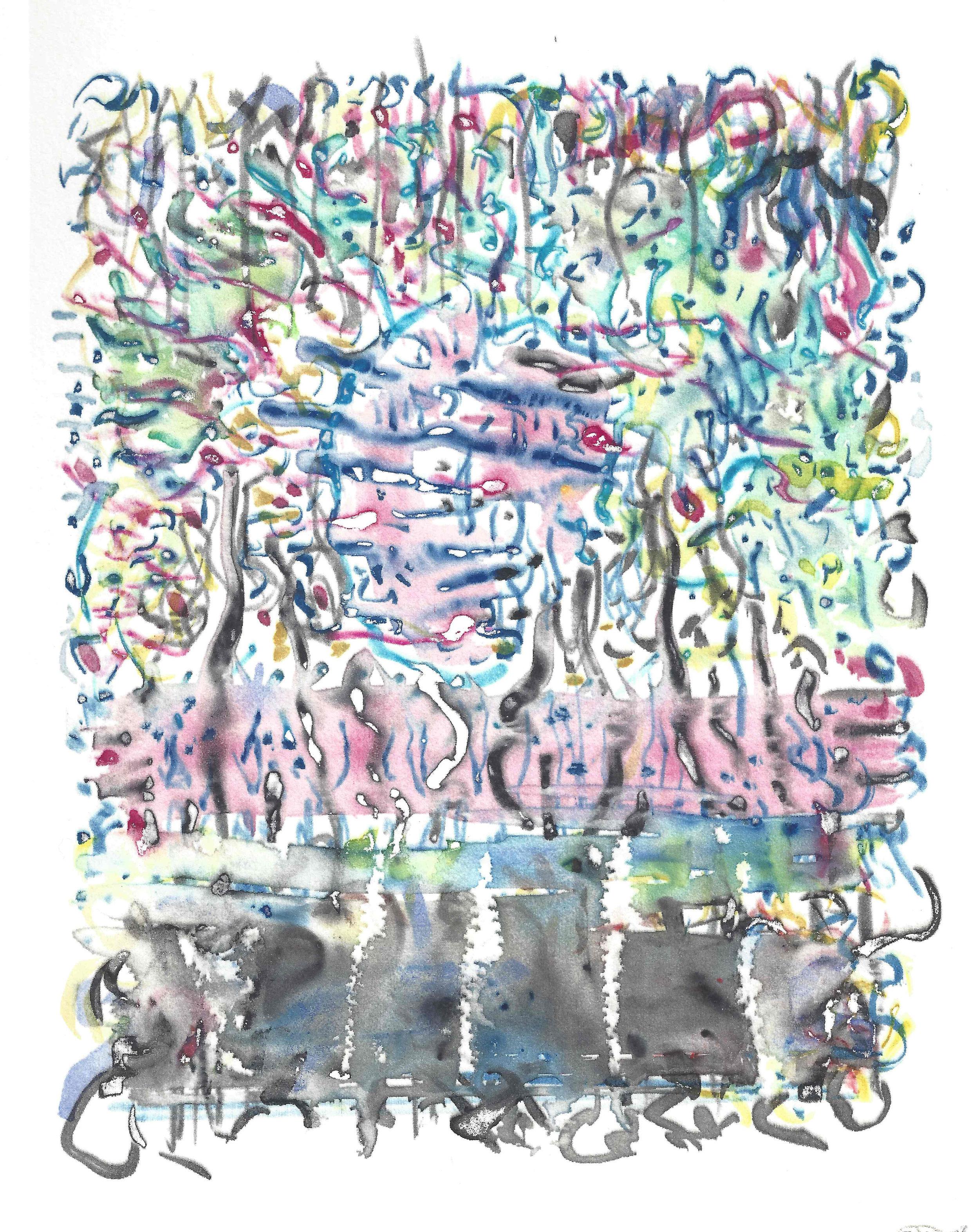 Carl Nanoff, Carnival, Watercolor screenprint, 2019
