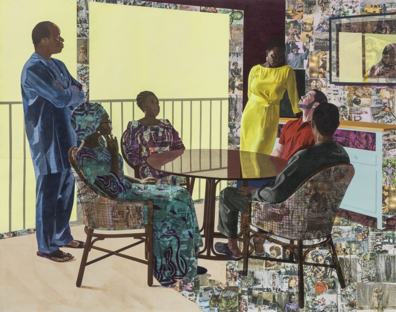 I Still Face You, 2015 by Njideka Akunyili Crosby Acrylic, oil, transfers, colored pencil, charcoal and collage on paper