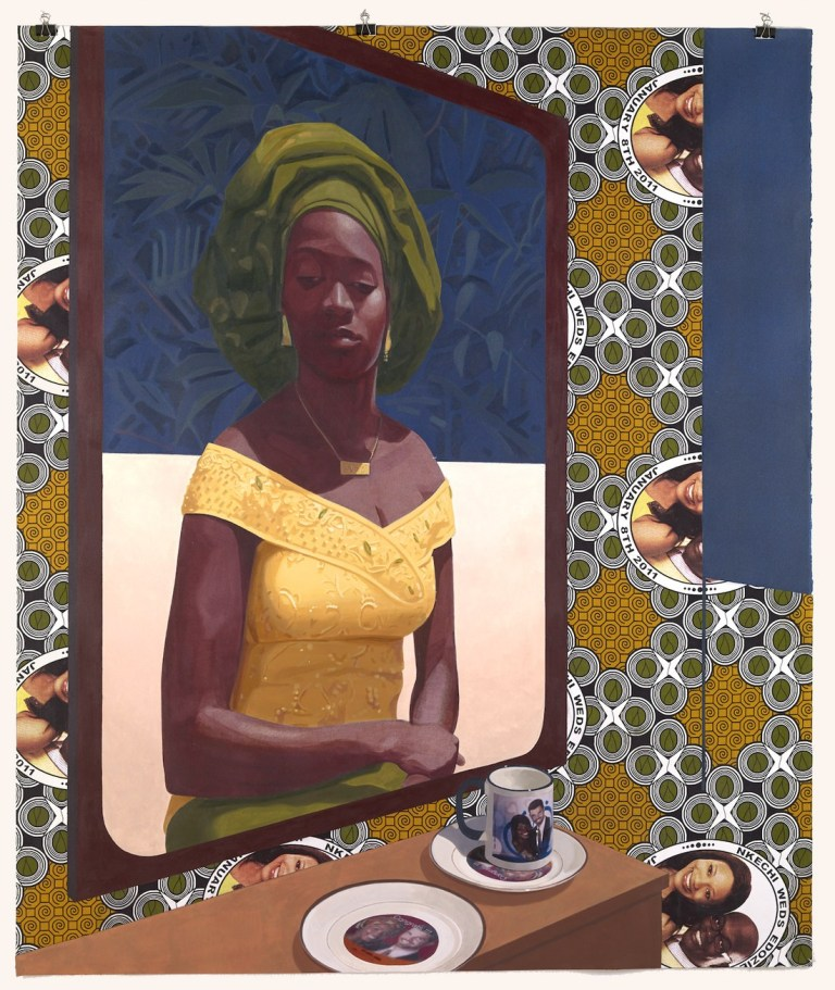 """NJIDEKA AKUNYILI CROSBY (b. 1983, Enugu, Nigeria; Works in Los Angeles), """"Wedding Souvenirs,"""" 2016 (acrylic, colored pencil, collage, and commemorative fabric on paper). 