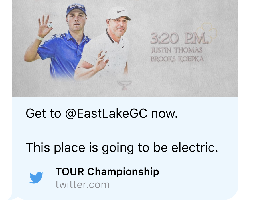 Saturday's unfortunate Tweet from the Tour Championship's @playofffinale account