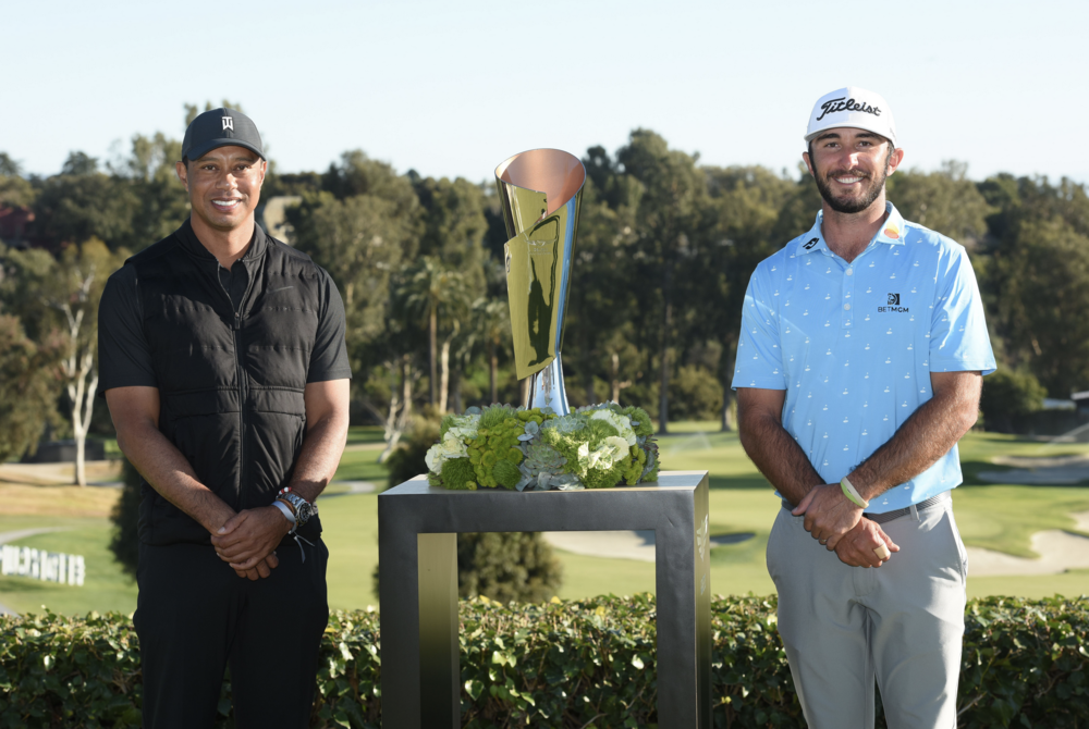 Awkward but still special as Tiger Woods hands Max Homa the 2021 Genesis Trophy (J.D. Cuban)