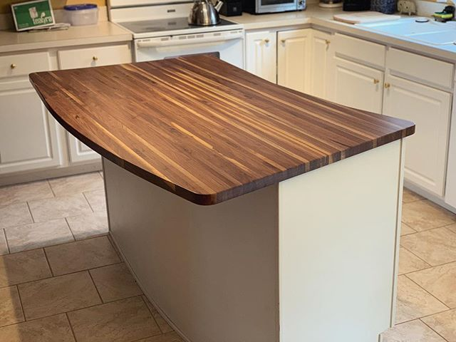 Walnut butcher block island top made it to its home safe and sound