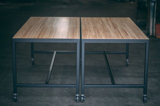 Well there you have it. A matching set of bar height community work stations headed over to our friends at @marketplacestrategy. The tops are salvaged bowling alley sections and with a name like Lane 17 it only felt right that we collaborated on this project 😁