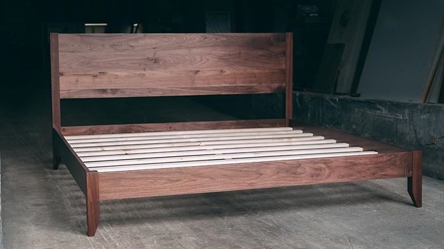 Throwing it back to our first bed we designed and made for a customer. She was a purdy one dressed in walnut