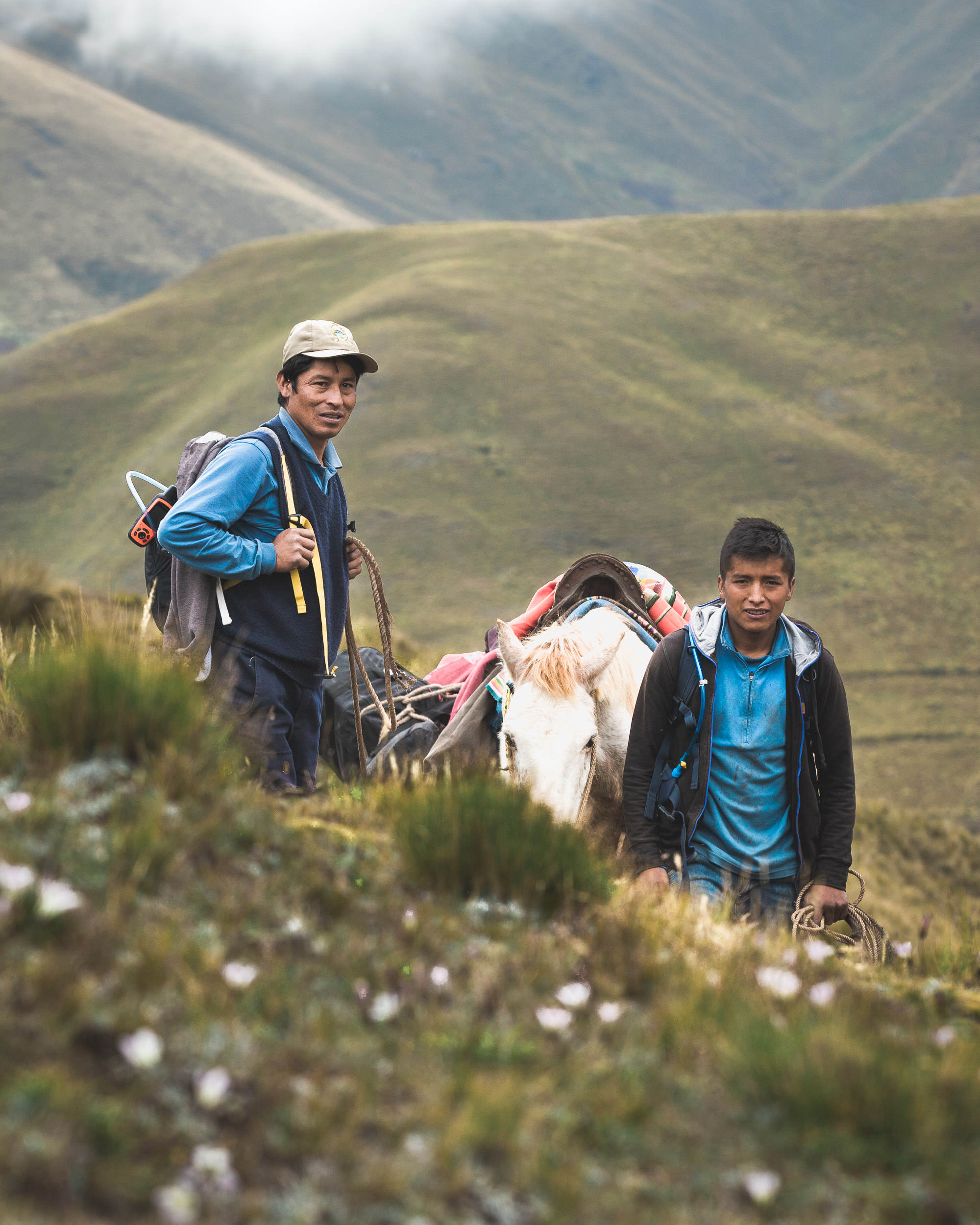 Porters on Trail along Trek to Machu Picchu