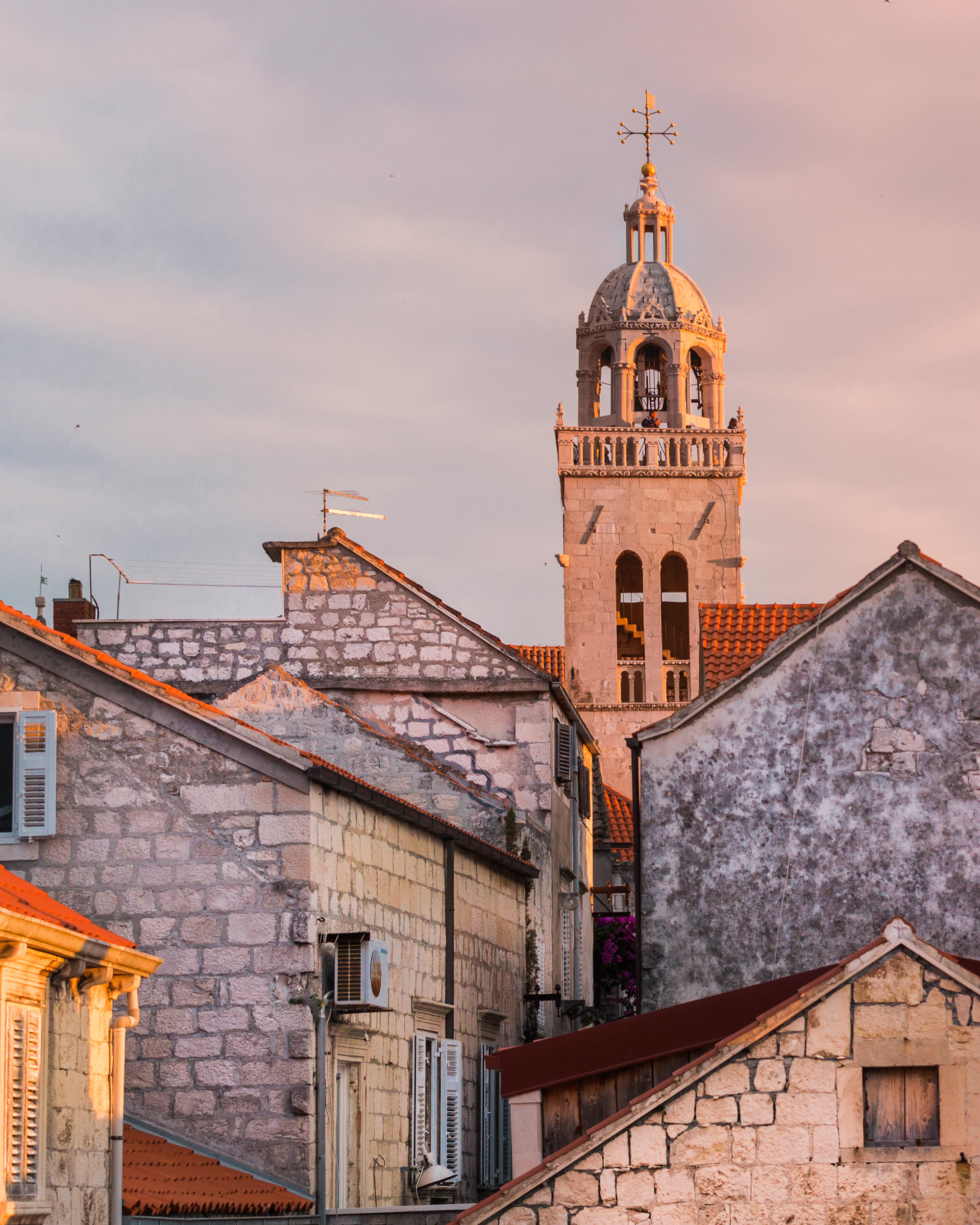While Sailing in the Mediterranean, we stopped for rooftop drinks in the Croatian town of Korcula