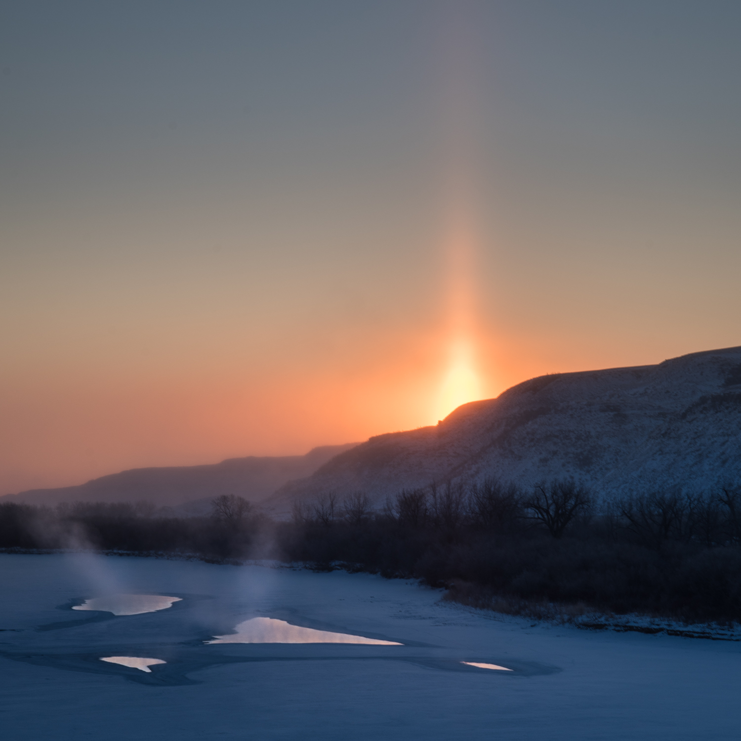 Sun pillar, early on the very coldest day of my trip.