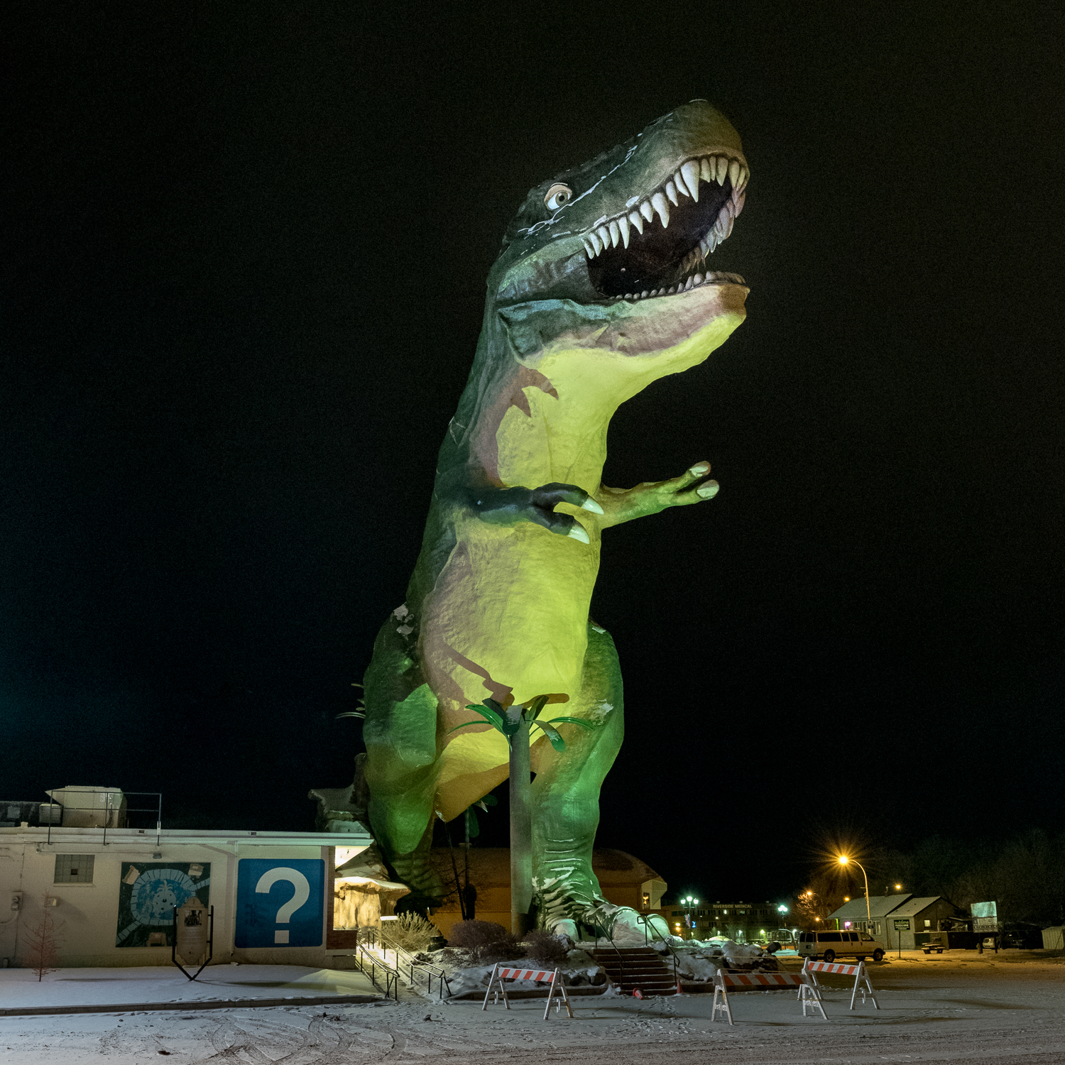 Who could resist photographing the big T-Rex in Drumheller, even on a chilly evening?