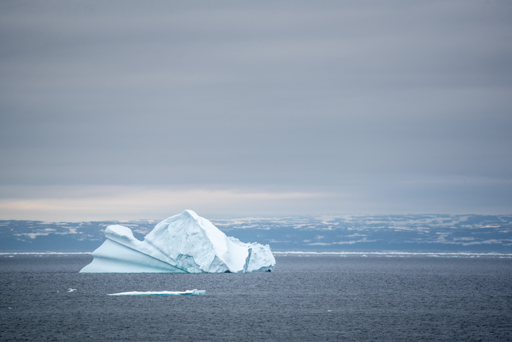 A beautiful iceberg sitting far offshore between Newfoundland and Labrador.