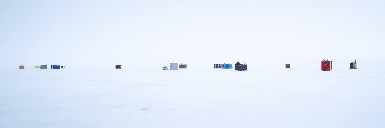 Ice fishing huts on Lake Winnipeg.