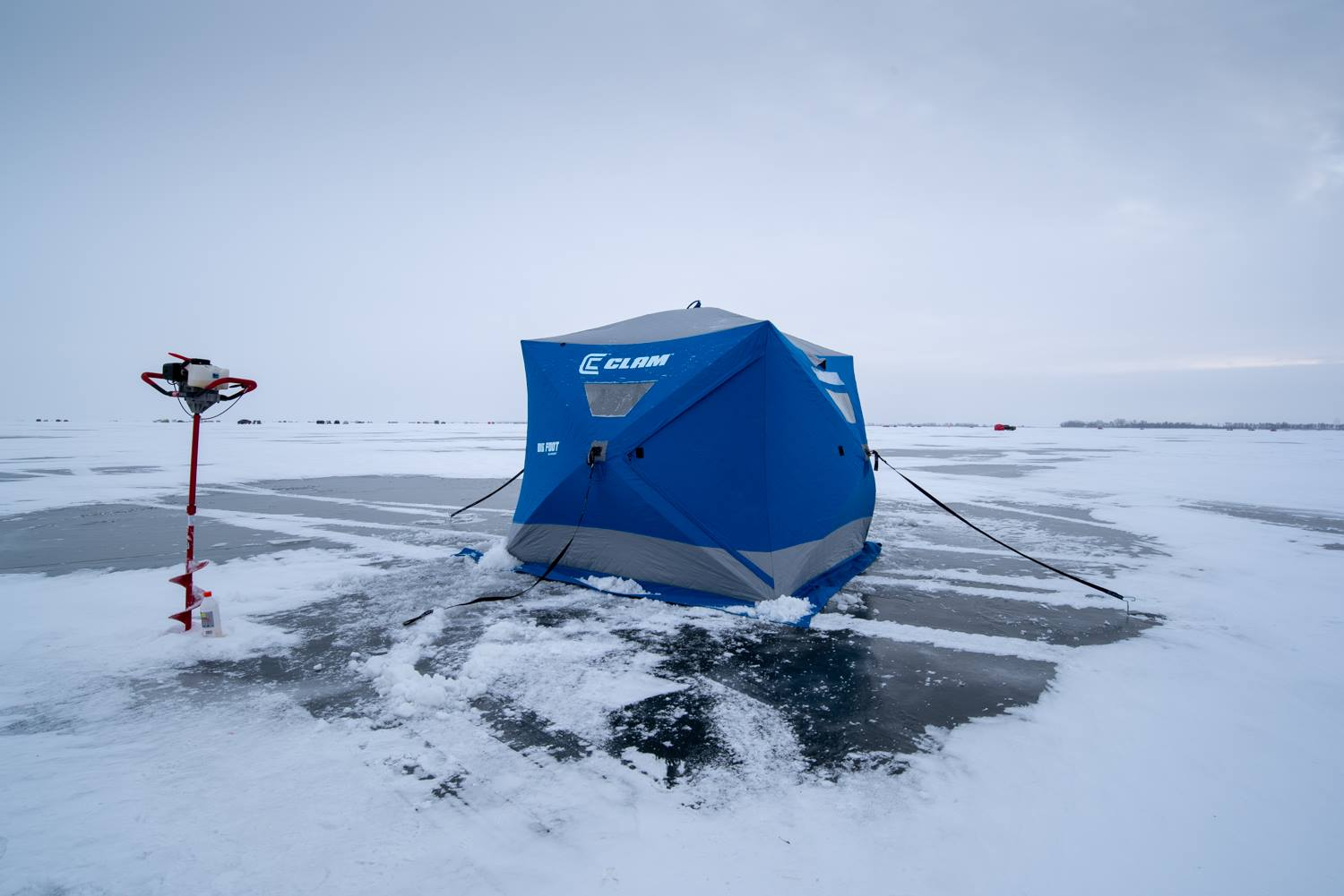 The ice fishing tent all set up.