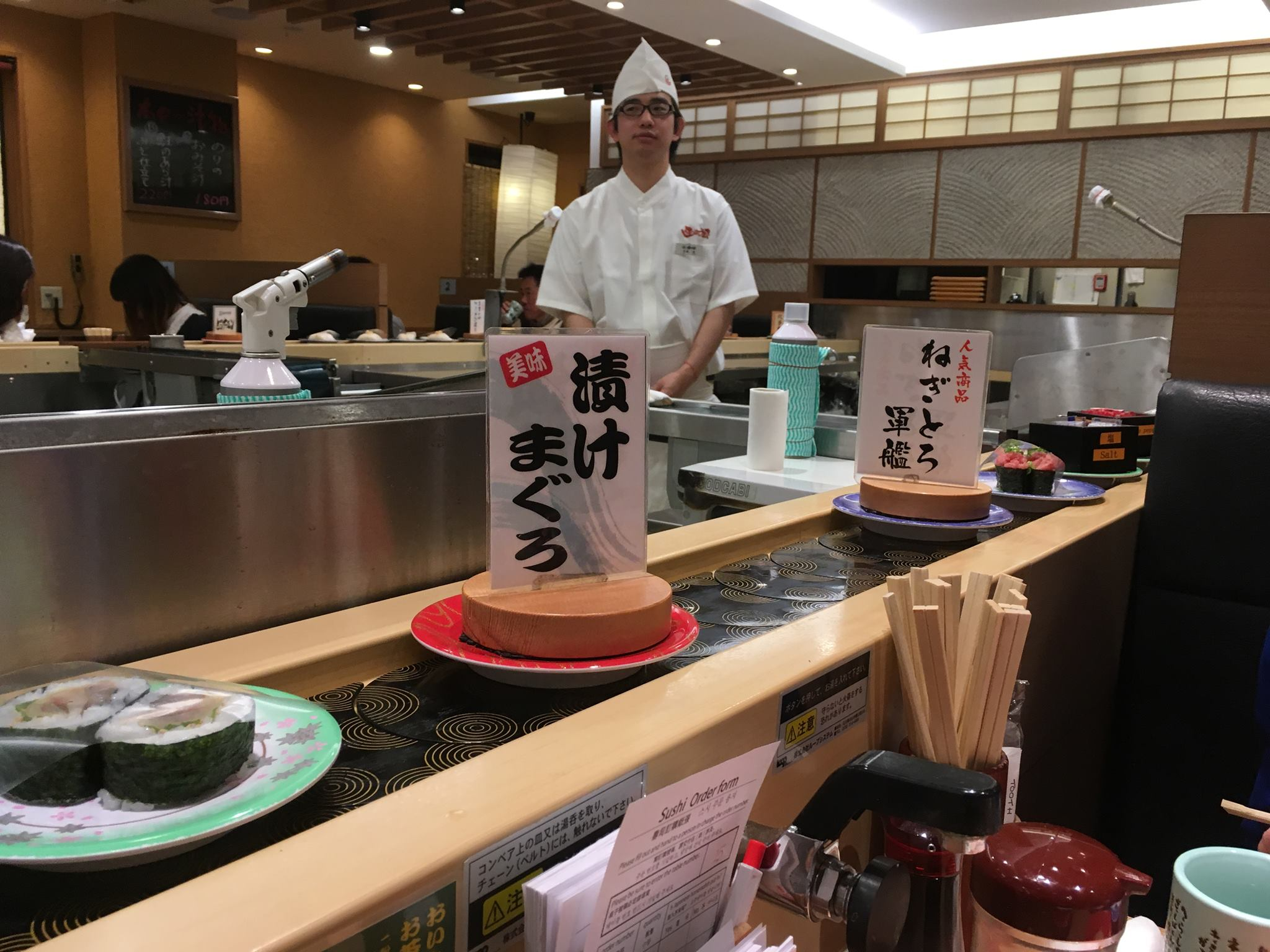 Conveyer-belt sushi.