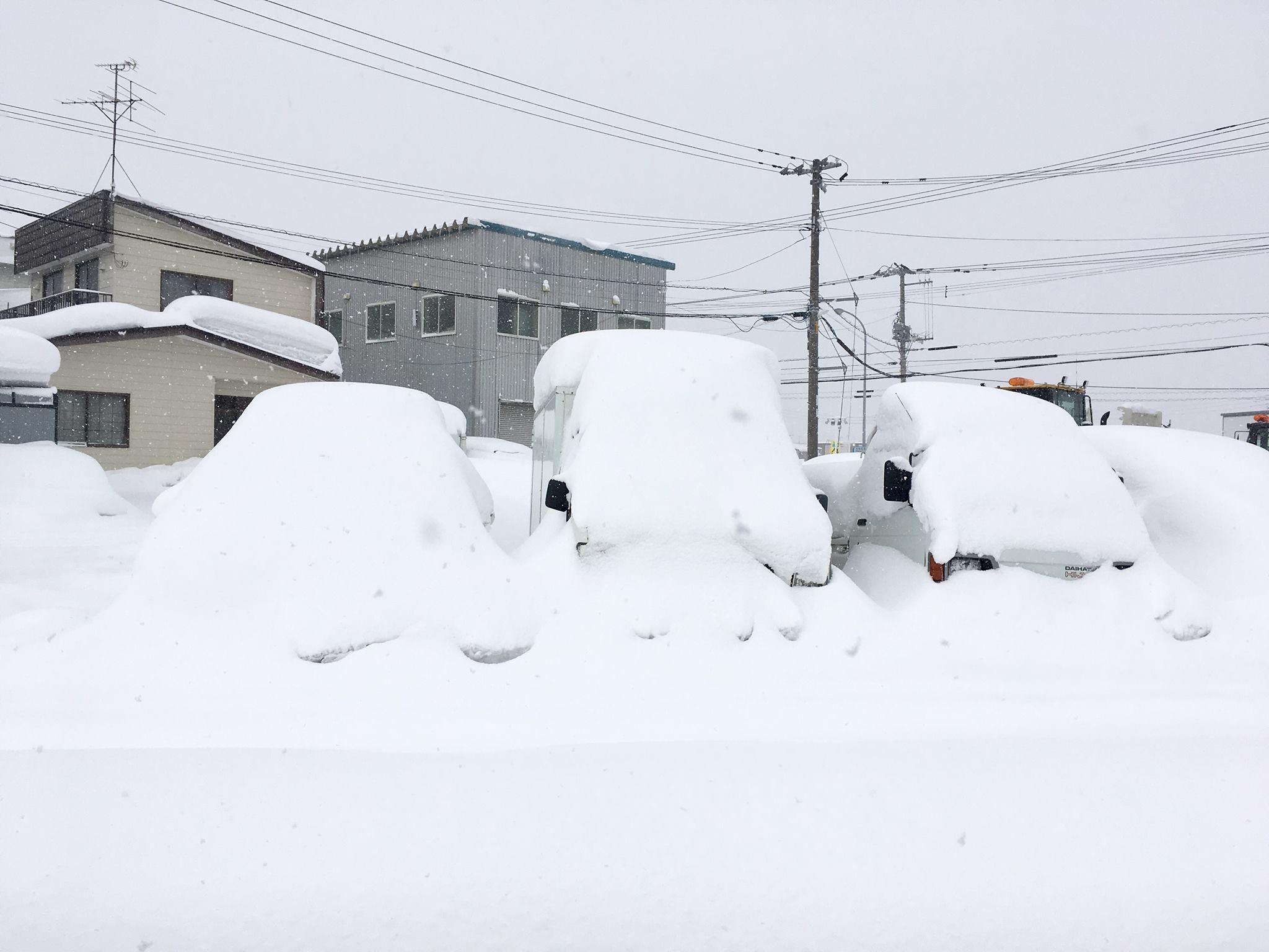 Buried cars in Hokkaido