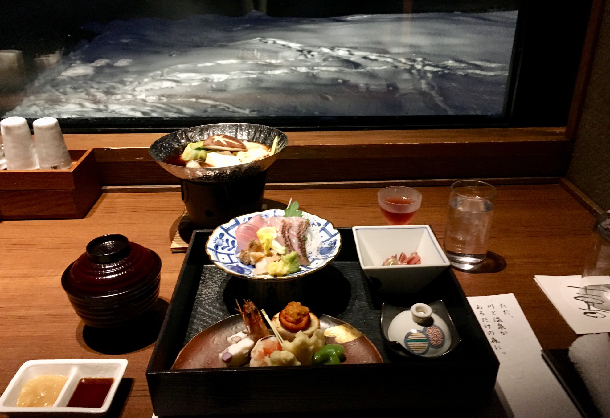 Another spectacular kaiseki meal. Out the window is the Akan river and the paths through the snow were made by local dear who like to sleep on the ground warmed by the hot springs.