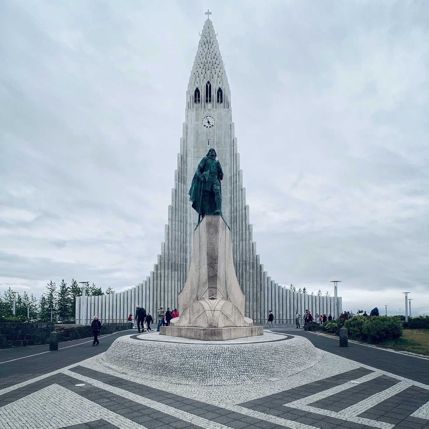 Hallgrímskirkja, Reykjavik's famous church, with the statue of Leif Eriksson in front.