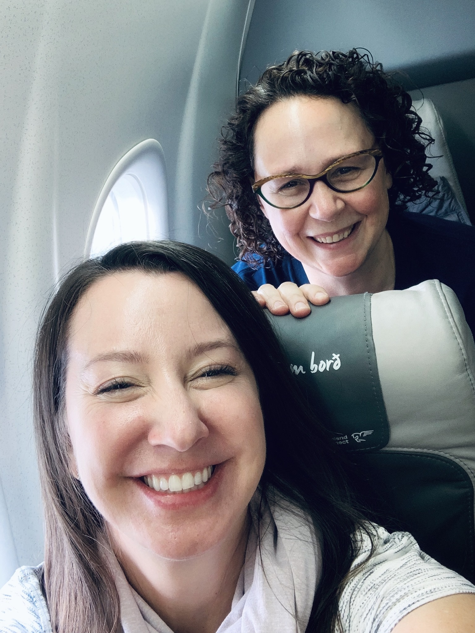 Absolutely thrilled to be on the plane! - with Becky Manning