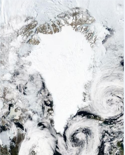 Greenland from space. This shows you the enormity of the ice sheet - which covers nearly 85% of the Greenlandic landmass.