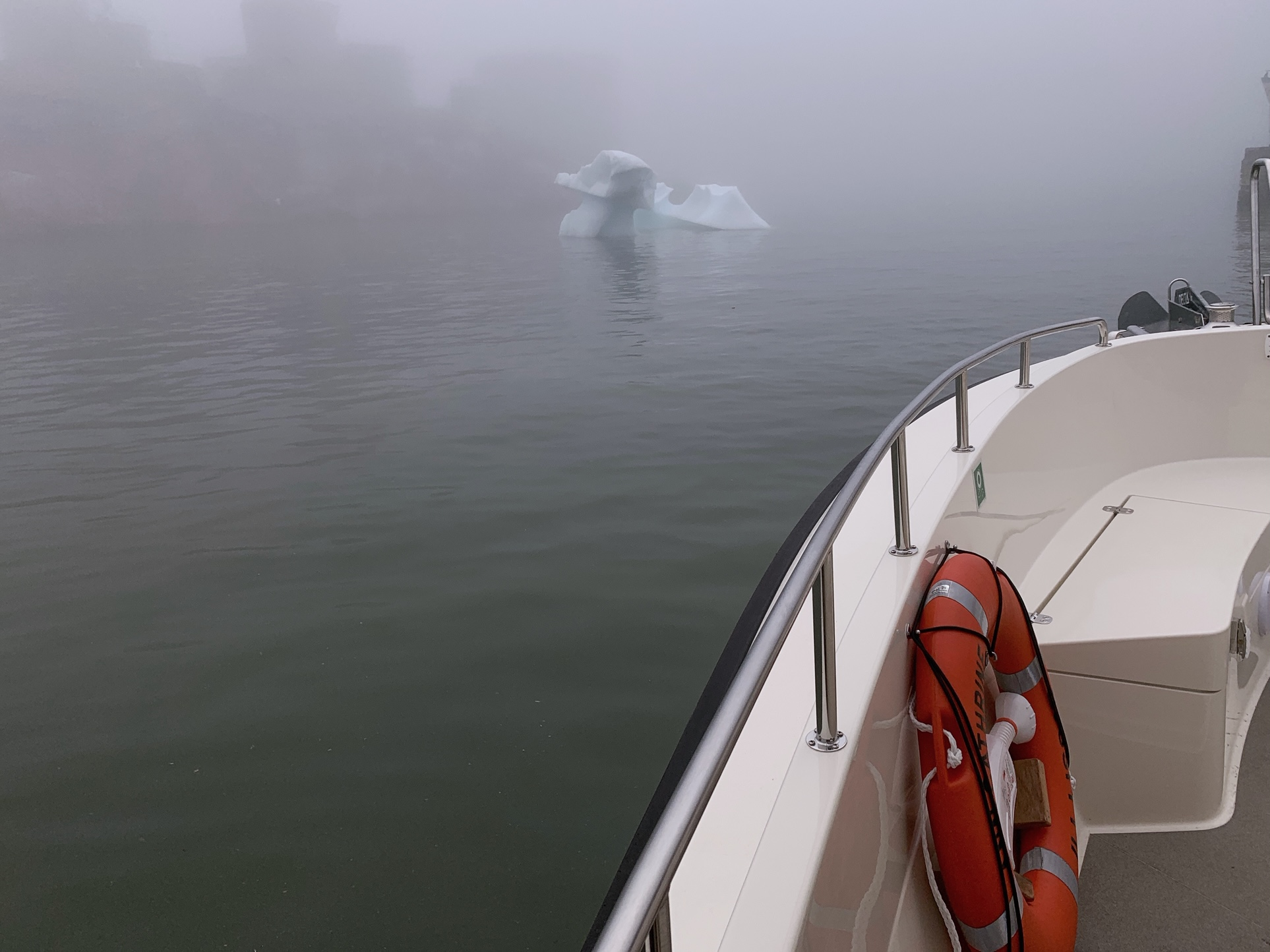 Foggy Ilulissat harbour on our first night's boat ride.