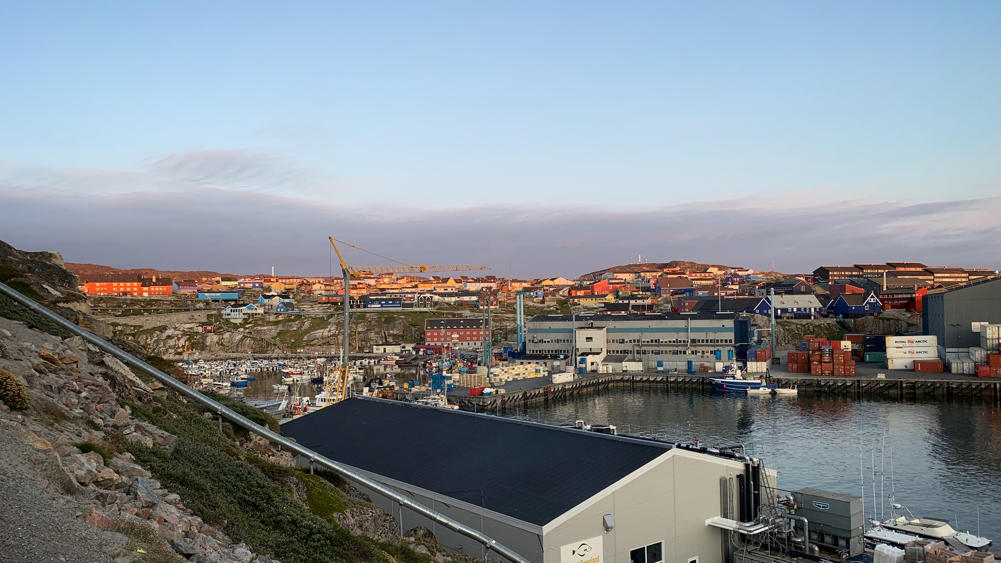 Ilulissat at 1:30am, bathed in beautiful soft light, as we arrived back from an excursion.