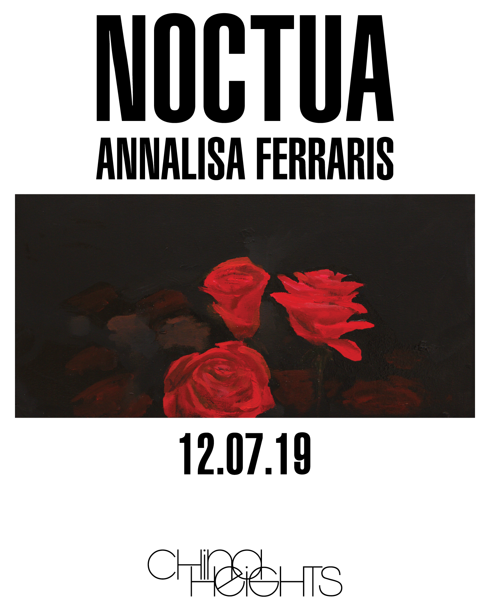 Noctua - Annalisa FerrarisOpens 6pm - 8pm, 12.07.19Continues 12-5pm until 20.07.19, or by appointment.