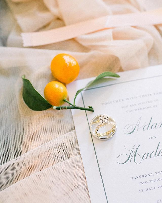 Kumquats hold a special place in Madeleine's heart, and they certainly added a fun pop to the decor on their big day! We LOVE love it when the details are not only beautiful but meaningful. Is there any better way to personalize your wedding? ❤️ •  Photo | @taylorcolephoto Florals | @emblemflowers Invites | @maudepress