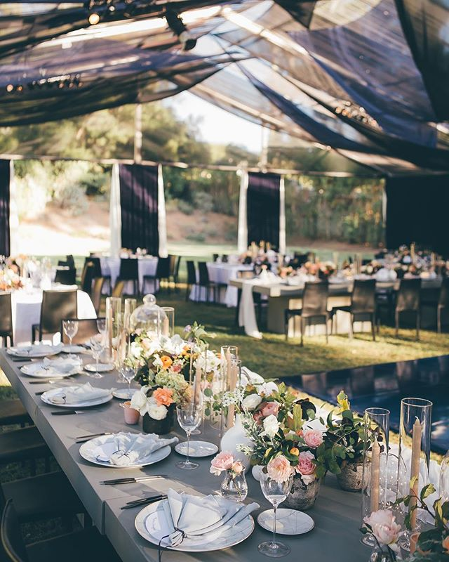Dreaming of a starry night back in Ojai, the ceiling treatment we designed was meant to look beautiful during daylight and dramatic after sunset. The twinkle lights softly hidden under layers of sheer tulle, juxtaposition the concrete head table. Ahhh this is what dreams are made of. ✨🌒 Photo | @ashleystreff Tabletop | @casadeperrin Decor | @theark_ Florals | @flowerwild Rentals | @tacer_losangeles