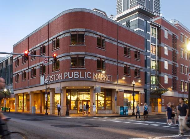 The outside of Boston Public Market located in Haymarket Square