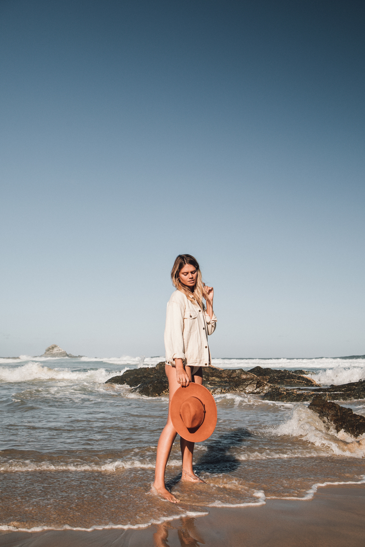 Jacket |  Hemp Temple , Hat |  Fallen Broken Street , Bikini Bottoms |  Peony Swimwear