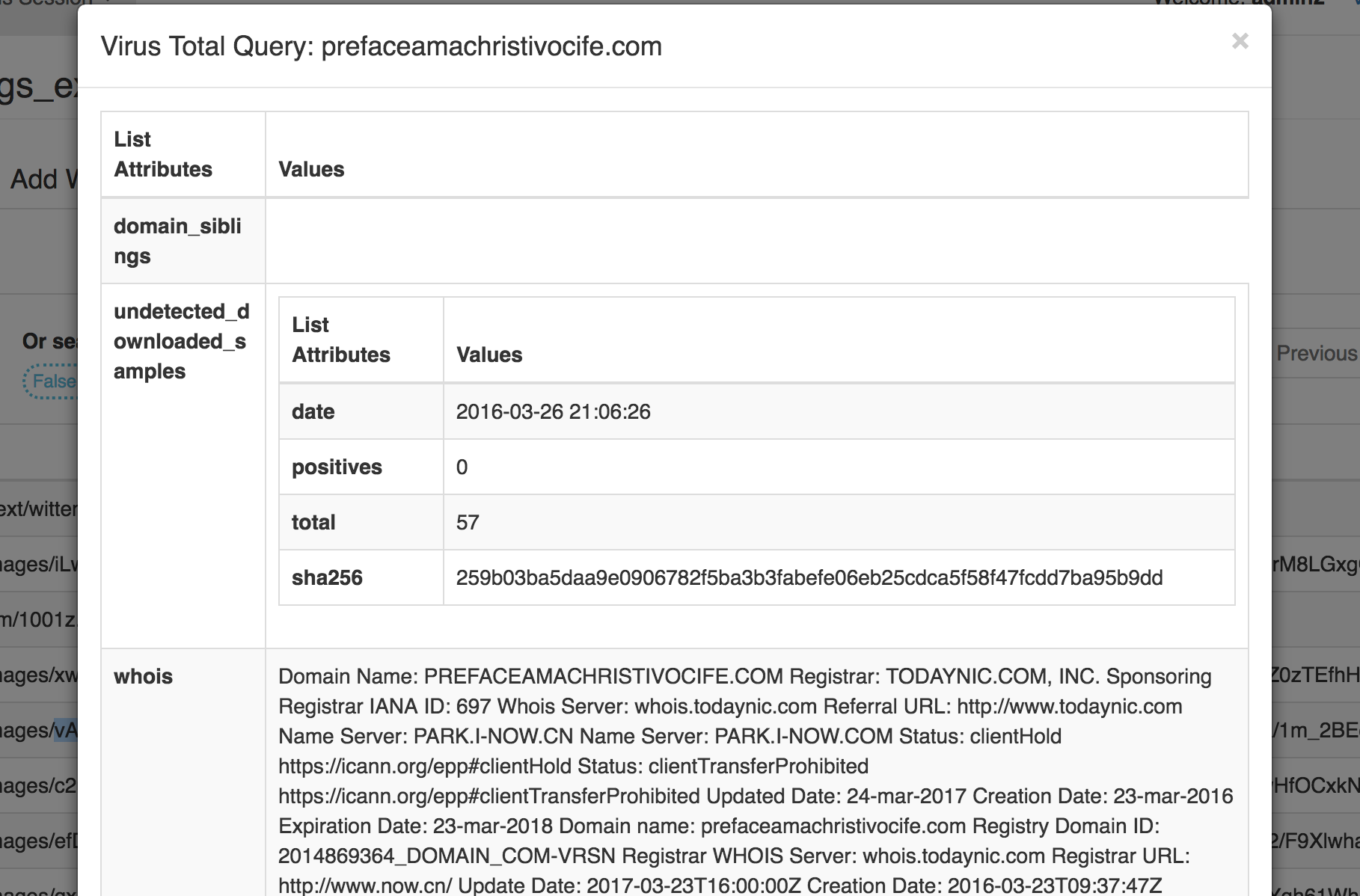This image shows a request to VirusTotal about an specific domain name