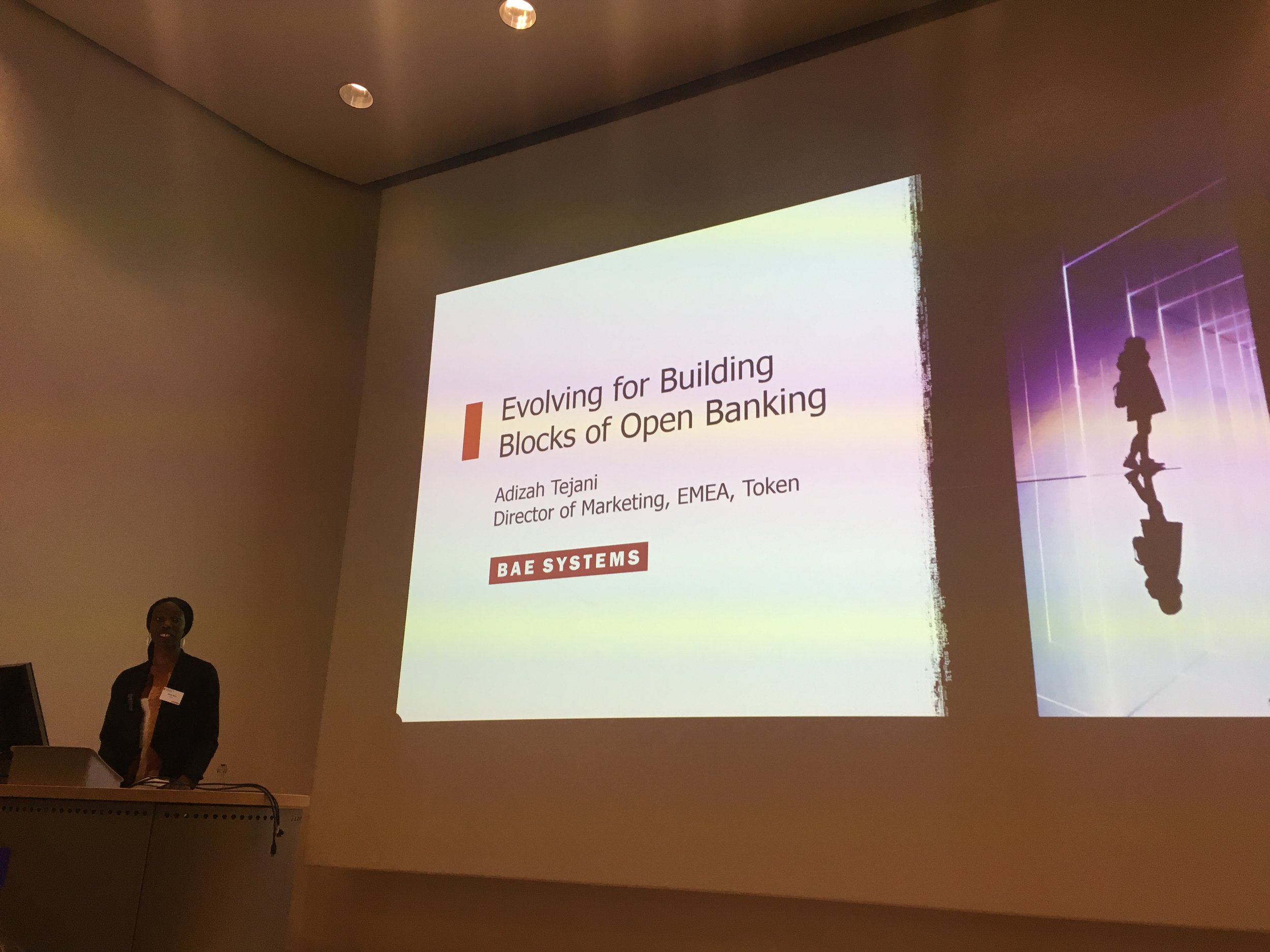 Adizah Tejani on her talk about Open Banking Technology.