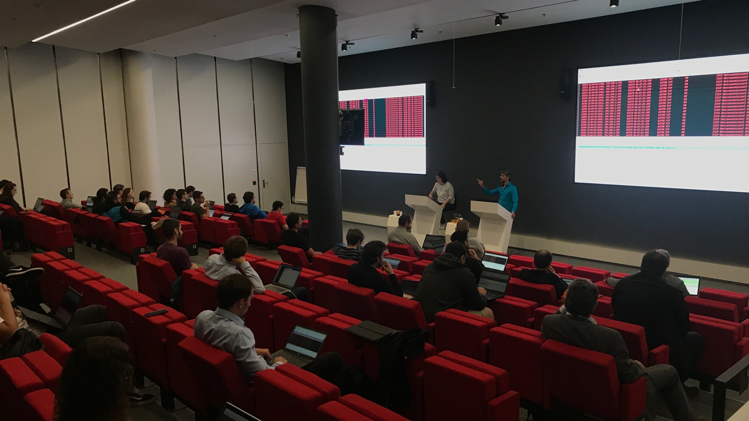 Sebastian Garcia  and  Veronica Valeros  giving the workshop 'Getting Your Hands Dirty: IoT Botnet Analysis' at OWASP Czech Chapter Meeting, May 2019.