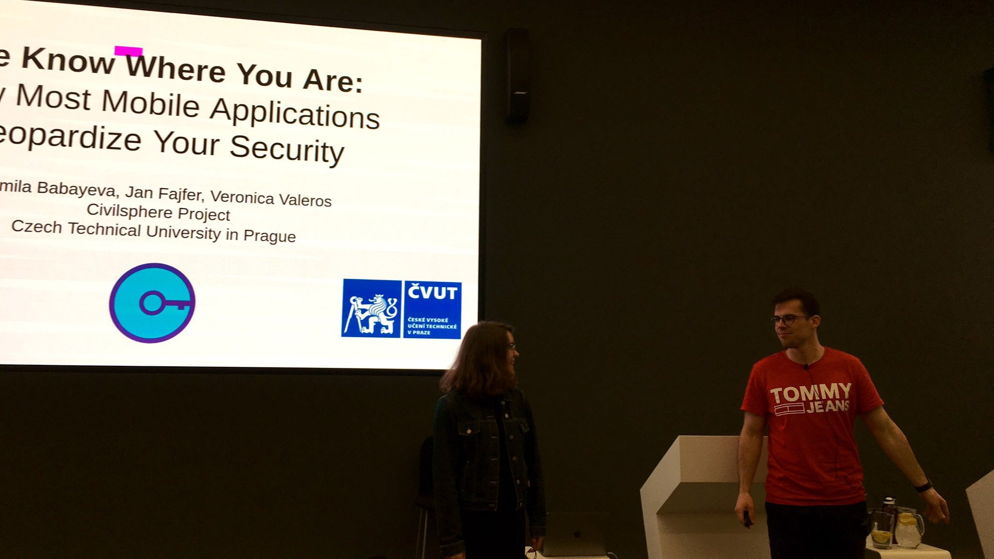 "Jan Fajfer  and  Kamila Babayeva  presenting ""We Know Where You Are: How Most Mobile Applications Jeopardize Your Security"" at OWASP Czech Chapter Meeting, May 2019."