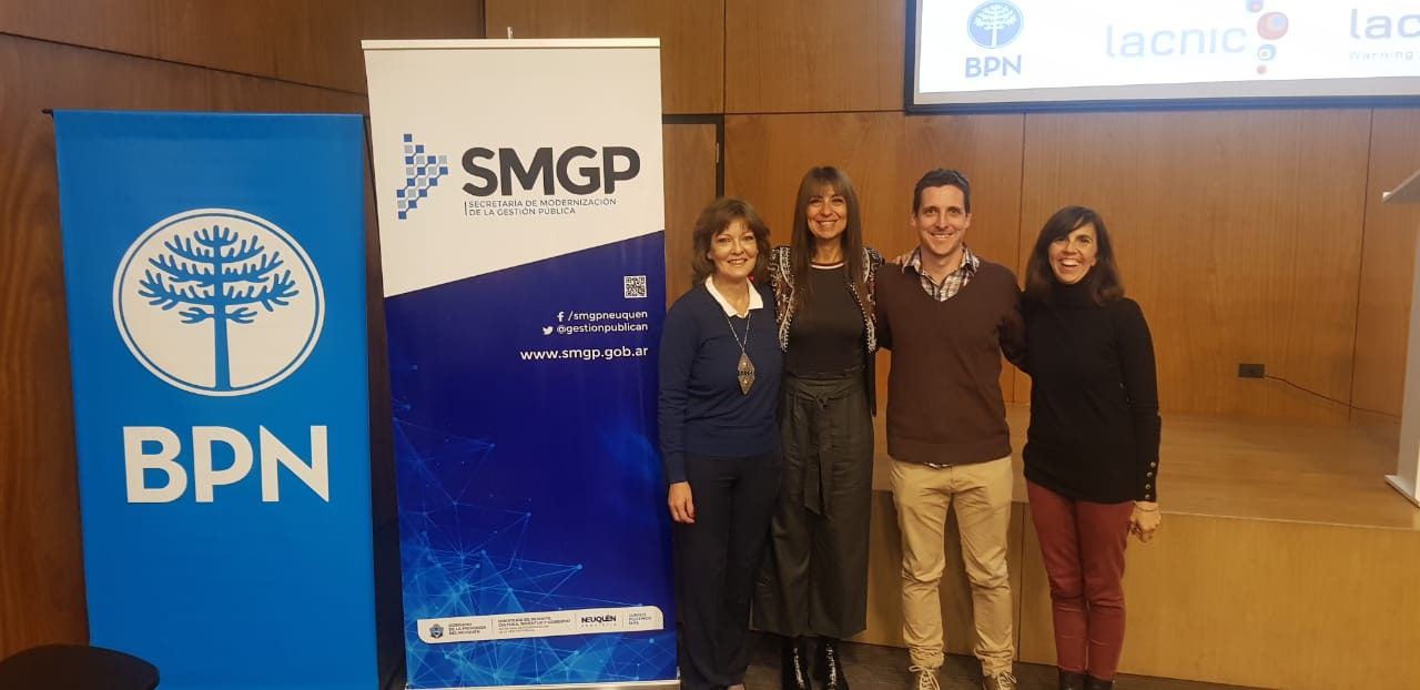 Alejandra Di Croco (Secretary of Modernization of the Neuquén Government, Graciela Martinez (WARP Coordinator - LACNIC), Nicolás Macia ( CERTUNLP Coordinator), Paula Venosa (CERTUNLP Coordinator)