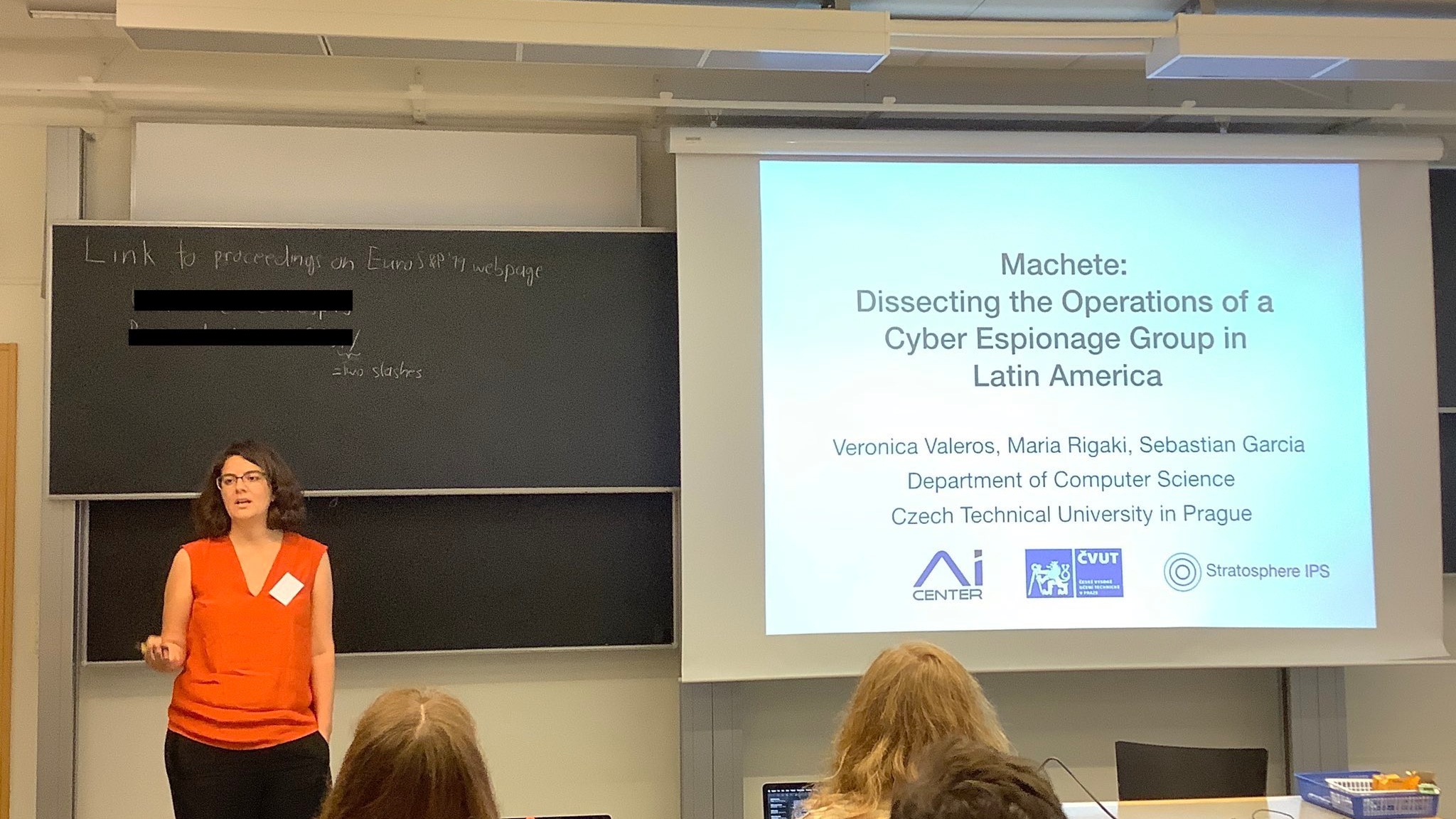 """Veronica Valeros presenting the paper  """"Machete: Dissecting the Operations of a Cyber Espionage Group in Latin America""""."""