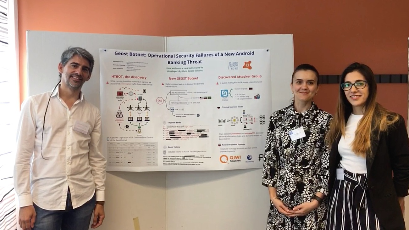 """Sebastian Garcia, Anna Shirokova, and Maria Jose Erquiaga presenting their poster on """" Geost: Operational Security Failures of a New Android Banking Threat""""."""