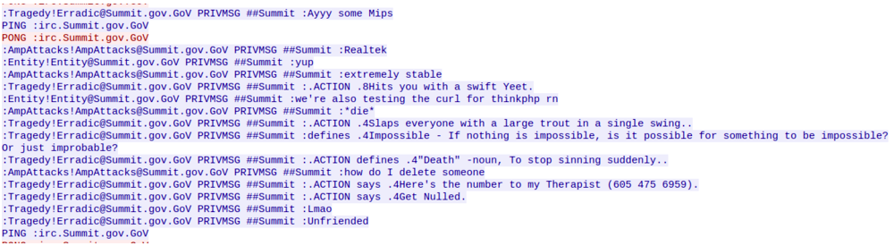 Conversation between the botmasters