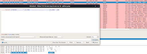 Figure 2: Suspicious data finding at Mirai port 4441 in Wireshark and its TCP Stream. The decoded hexadecimal payload cant be read with Wireshark.