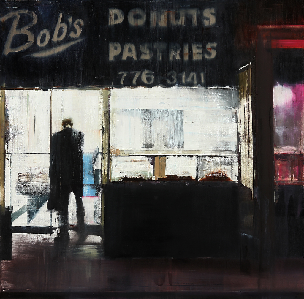 Bobs Donuts 5-6am  oil on wood     30x30 inches    2012