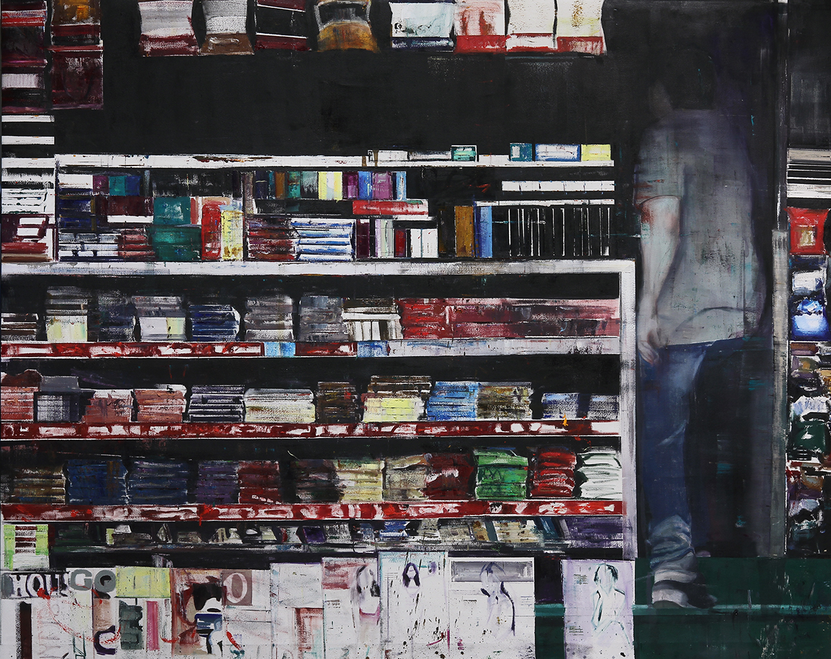 "1-2pm Acacia and Wellington rd. (Waiting#197)  Oil on canvas     76""x96""    2014"