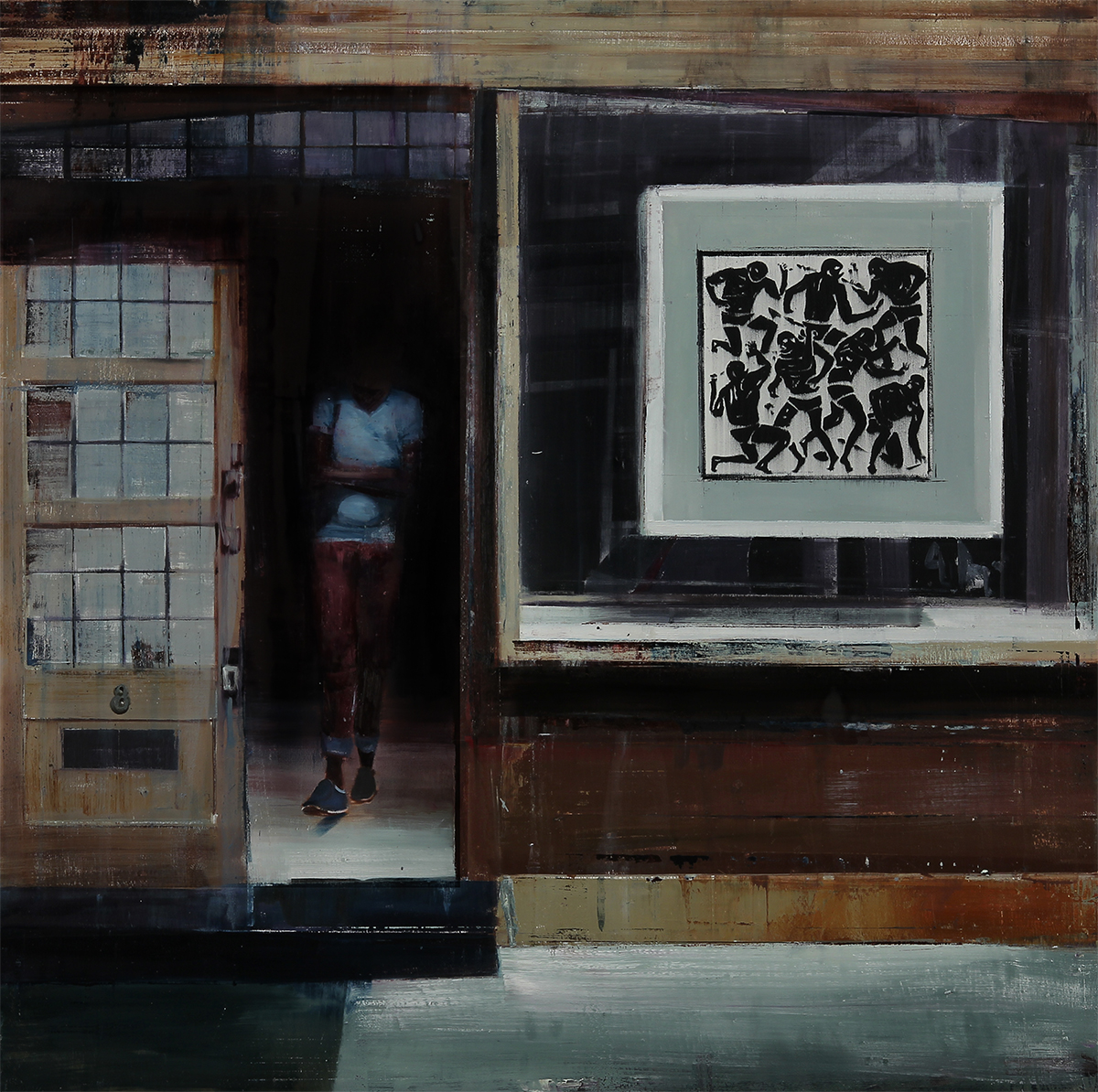 "4-5pm The Outsiders Gallery (Waiting#196)    Oil on wood     36""x36""      2014"