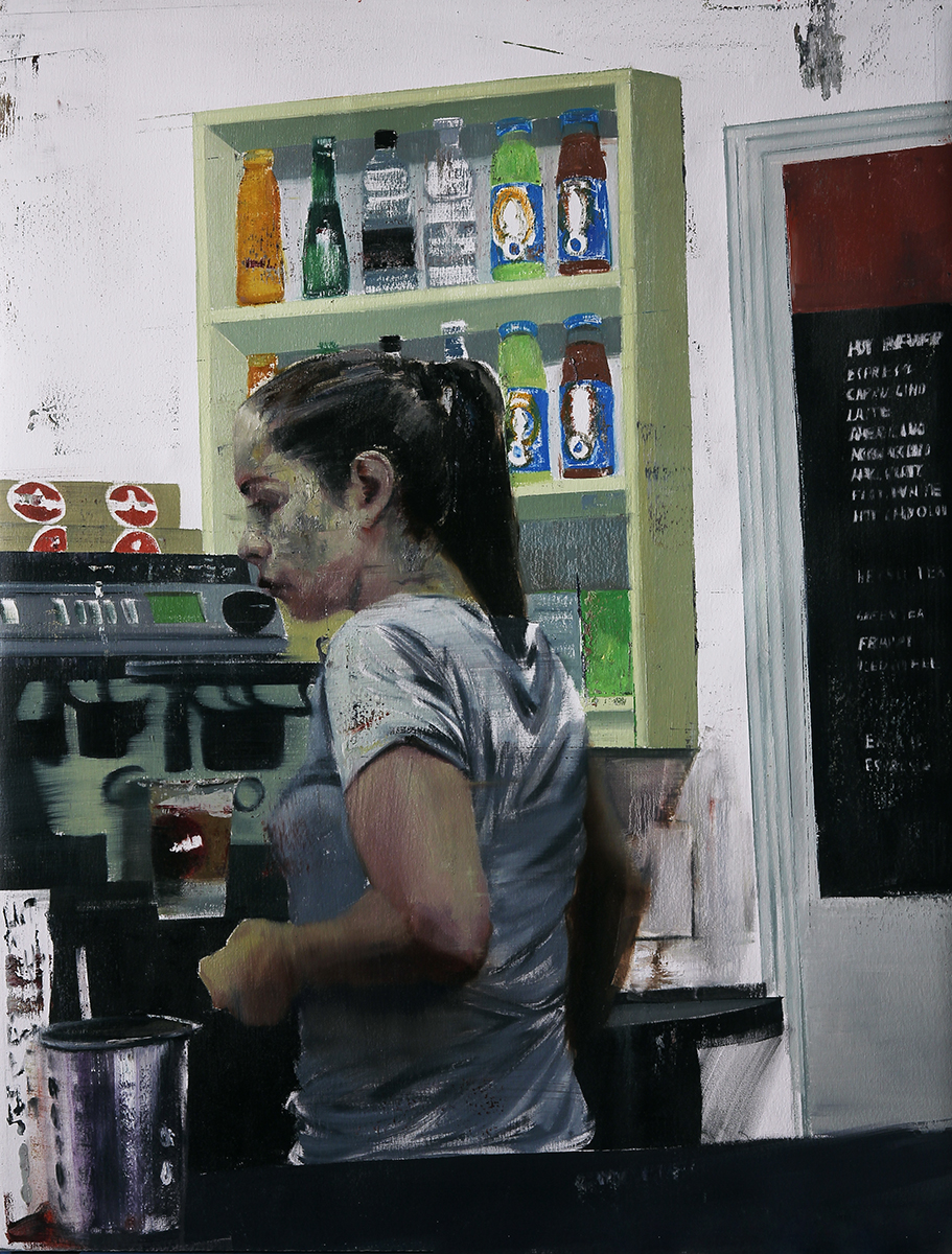 "7-8am 121 Wapping High st. (Waiting#203)    Oil on canvas     35""x40""    2014"