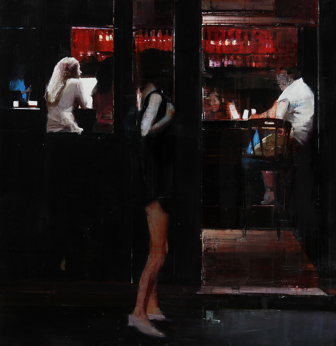 "2-1am The Blind Beggar (Waiting#194)        Oil on wood     36""x36""     2014"