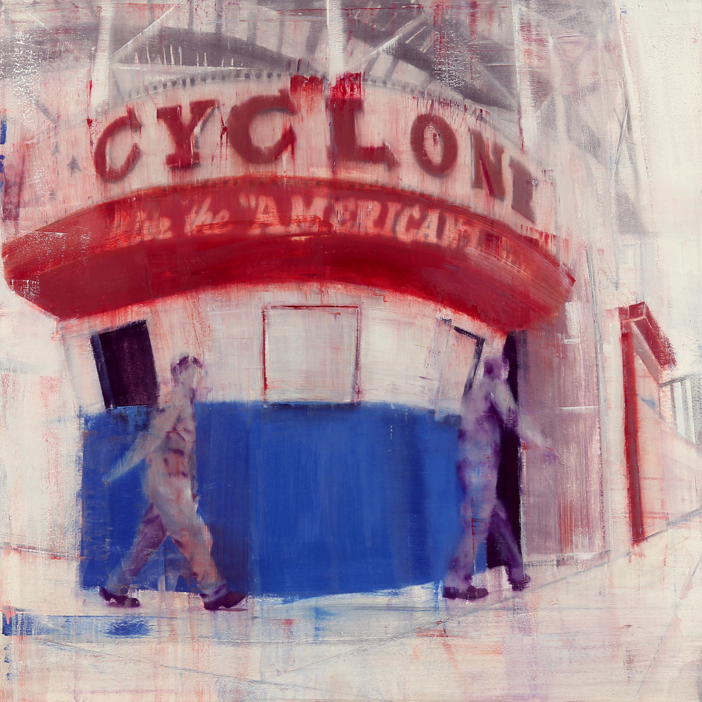 Coney Island 8-9am (Waiting#170)  oil on wood   36x36 inches  2013