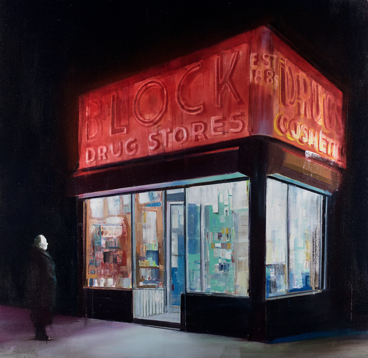 Block Drugs (Waiting#246)    oil on canvas   48x48 inches   2015